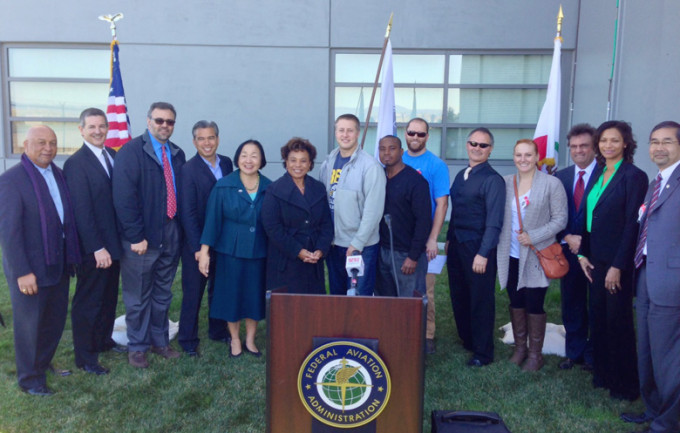 IBEW Local 595 members were recognized by Rep. Barbara Lee, Oakland Mayor Jean Quan and other officials for their contributions to the new FAA Control Tower at the Oakland Airport.