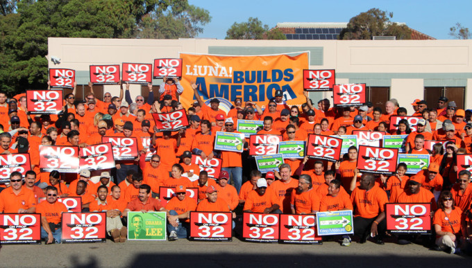 Laborers union members gathered at Local 304 for a rally to stop Prop 32 Nov. 3, 2013