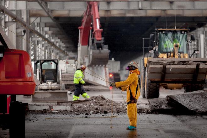 Demolition work on the San Francisco Oakland Bay Bridge. Photo courtesy of Caltrans.
