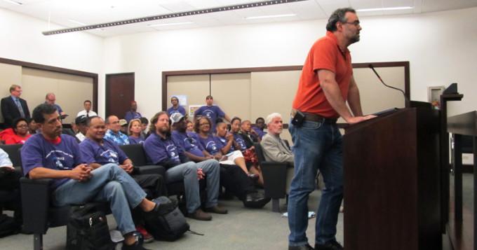 BTCA Secretary Treasurer speaks in support of transit workers.