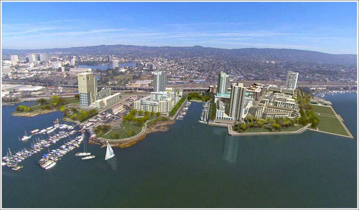 The Brooklyn Basin project will be built on 65 acres of waterfront property southwest of The Embarcadero between the Lake Merritt channel and 9th Avenue.