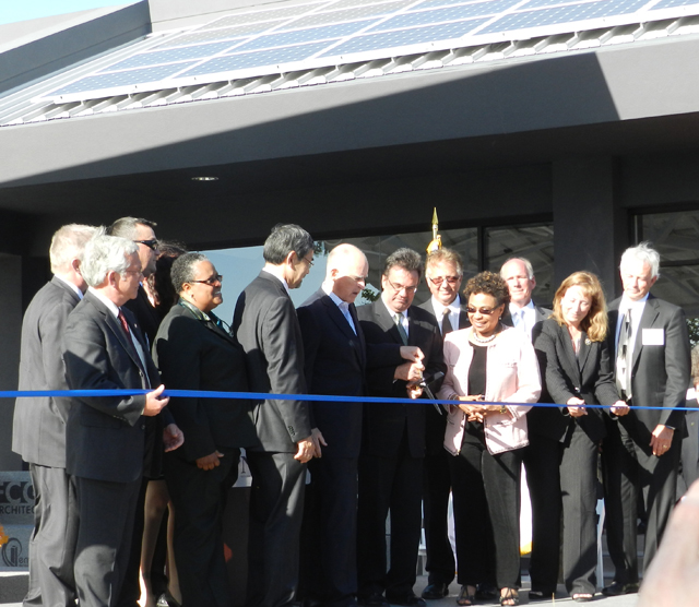 IBEW 595 celebrated the Grand Opening of the ZNE center with a ribbon cutting ceremony that included Governor Jerry Brown. Congresswoman Barbara Lee and State Senator Ellen Corbett.