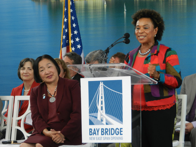 Congresswoman Barbara Lee praised the workers who built the new bridge. Also pictured, Assemblymember Joan Buchanan and Oakland mayor Jean Quan.