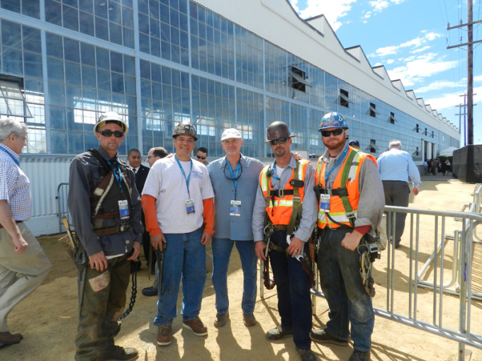 Ironworkers Local 378 president Bobby Lux, center, with members Chris Biskner, Rich Garcia, James Sturgeon and Obra Paulk, who worked on the Bay Bridge for general contractor American Bridge-Flour. They later participated in the chain cutting ceremony to officially open the bridge to trafic.
