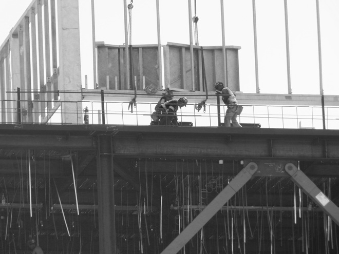 Ironworkers on the job at Highland Hospital's new Acute Tower project.