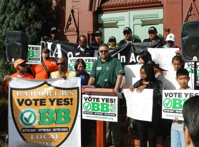 Andreas Cluver, Secretary-Treasurer of the Alameda County Building and Construction Trades Council, thanked the Laborers, Carpenters, Operating Engineers and Teamsters unions for supporting Measure BB.